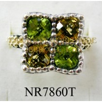 925 Sterling Silver &14K Ring Peridot and Citrine - NR7860T