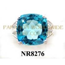 925 Sterling Silver Ring Light Swiss Blue Topaz - NR8276