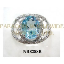925 Sterling Silver Ring Light Swiss Blue Topaz  and White Diamond - NR8288B