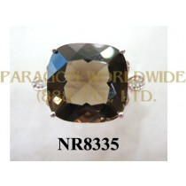 925 Sterling Silver Ring Smoky Quartz  and White Diamond - NR8335
