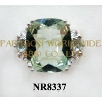 925 Sterling Silver Ring Green Amethyst - NR8337