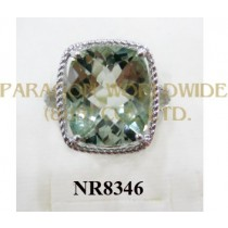 925 Sterling Silver Ring Green Amethyst - NR8346