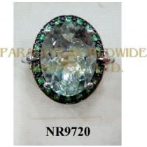 925 Sterling Silver Ring Green Amethyst and Tsavorite  - NR9720