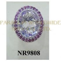 925 Sterling Silver Ring Pink Amethyst and Rhodolite - NR9808
