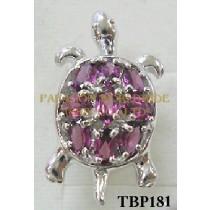 10K White Gold Pin  Rhodolite  - TBP181