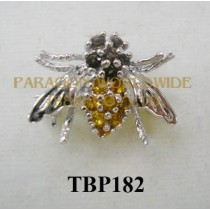 10K White Gold Pin  Citrine and Smoky Quartz - TBP182