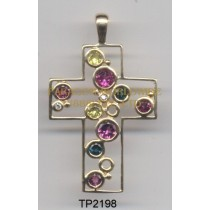 10K Yellow Gold Pendant   Multi and White Diamond - TP2198