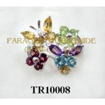 10K White Gold Ring  Multi  - TR10008