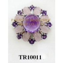 10K White Gold Ring  Amethyst and Rose Quartz - TR10011
