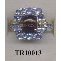 10K White Gold Ring  Amethyst and Tanzanite - TR10013
