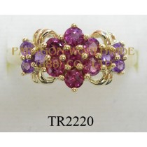 10K Yellow Gold Ring Amethyst and Rhodolite - TR2220
