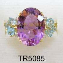 10K Yellow Gold Ring  Amethyst + Light Swiss Blue Topaz and White Diamond - TR5085
