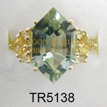 10K Yellow Gold Ring  Green Amethyst and Citrine -TR5138