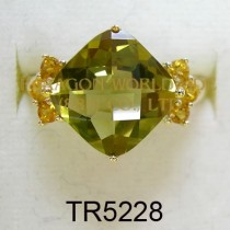 10K Yellow Gold Ring Olive Quartz and Citrine - TR5228