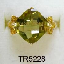 10K Yellow Gold Ring Olive Quartz and Citrine - TR5228