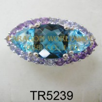 10K White Gold Ring  Multi -TR5239