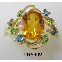 10K Yellow Gold Ring  Tangerine Citrine+Tsavorite and London Blue Topaz - TR5309