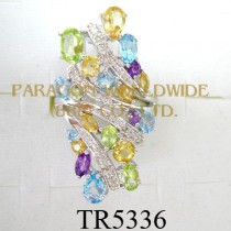 10K White Gold Ring  Multi and White Diamond - TR5336