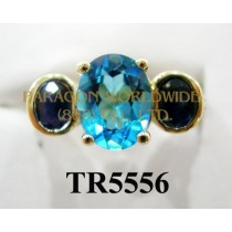 10K Yellow Gold Ring  Light Swiss Blue Topaz + Sapphire and White Diamond  - TR5556