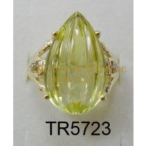 10K Yellow Gold Ring  Lemon Quartz and White Diamond - TR5723