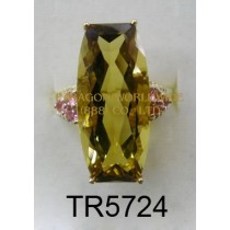 10K Yellow Gold Ring  Whisky Quartz and Pink Tourmarine - TR5724