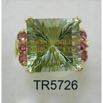 10K Yellow Gold Ring  Green Amethyst and Pink Tourmarine - TR5726