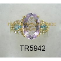 10K Yellow Gold Ring  Pink Amethyst + Blue Zircon and White Diamond - TR5942