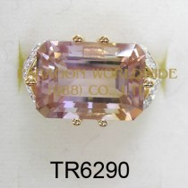 10K Yellow Gold Ring  Pink Amethyst  and White Diamond - TR6290