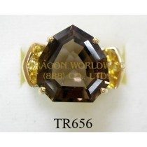10K Yellow Gold Ring  Smoky and Citrine -  TR656