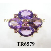 10K Yellow Gold Ring  Amethyst and Rhodolite - TR6579