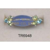 10K White Gold Ring  Multi - TR6948