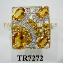 10K Yellow Gold Ring Dark Citrine + Citrine and White Dimaond - TR7272