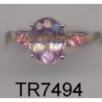 10K White Gold Ring  Kunsite and Pink Sapphire - TR7494