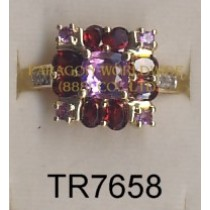 10K Yellow Gold Ring Amethyst + Garnet and White Diamond - TR7658
