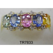 10K White Gold Ring Multi Sapphire and White Diamond - TR7833