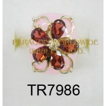 10K Yellow Gold Ring  Pink Jade and Garnet - TR7986