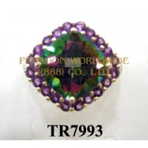10K Yellow Gold Ring  Mystic Topaz + Amethyst and White Diamond  - TR7993
