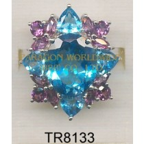 10K White Gold Ring  Light Swiss Blue Topaz and Rhodolite - TR8133