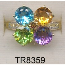 10K Yellow Gold Ring  Multi and White Diamond - TR8359