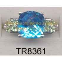 10K White Gold Ring  Light Swiss Blue Topaz + Peridot and White Diamond - TR8361