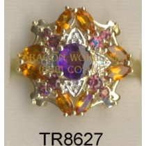 10K Yellow Gold Ring  Madeira Citrine + Amethyst +Rhodolite and White Diamond - TR8627