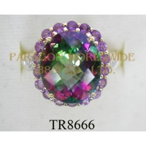 10K Yellow Gold Ring  Mystic Topaz + Amethyst  and  White Diamond - TR8666