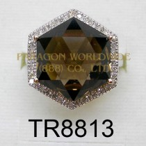 10K White Gold Ring  Smoky Quartz and White Diamond - TR8813