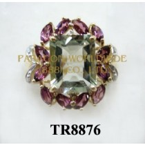 10K Yellow Gold Ring  Green Amethyst+Rhodolite and White Diamond - TR8876