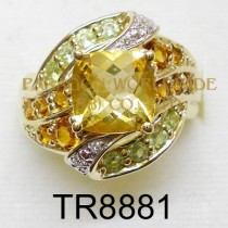 10K Yellow Gold Ring  Citrine+Madeira Citrine +Peridot and White Diamond - TR8881