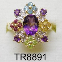 10K  Yellow Gold Ring  Multi  and White Diamond - TR8891