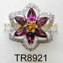 10K White Gold Ring  Rhodolite + Madeira Citrine and White Diamond - TR8921