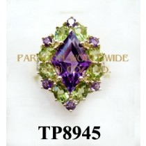 10K Yellow Gold Ring  Amethyst+Peridot and White Diamond - TR8945