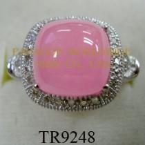 10K White Gold Ring  Pink Jade and White Diamond - TR9248